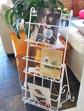 Hand Made Metal Magazine Rack News Paper Holder Free Standing WHITE001