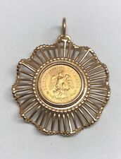 1945 Estados Unidos Mexicanos Dos 2 Pesos 22K Gold Coin on 14K Bezel Pendant