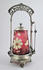 DERBY #113 frame THREADED Cranberry Jar ENAMEL flowers -  Antique PICKLE CASTOR