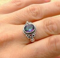 Mystic Topaz 925 Sterling Silver Solitaire Ring Indian Jewellery