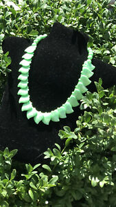 """Vintage 1950s / 60s """"WEST GERMANY"""" Green Moonglow Lucite Necklace"""