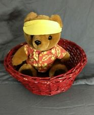 Vintage 1986 Dakin Sonny Bear Teddy Plush Yellow Visor Red Hawaiin Shirt