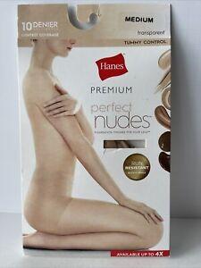 Hanes Premium Perfect Nudes Sheer Hosiery Transparent Tummy Control Size Medium