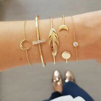 5pcs/Set Women's Jewelry Gold Moon Leaf Crystal Cuff Chain Bangle Bracelets