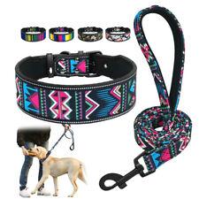 2''Wide Adjustable Large Dog Collar and Leash Set Reflective for Rottweiler L