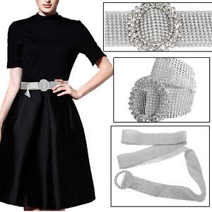 Silver Rhinestone Waist Belt Crystal Waistband Women Diamante Shiny Ladies Charm