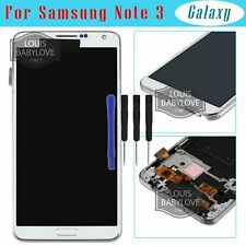 For Samsung Galaxy Note 3 N9005 LCD Screen Touch Display+Frame Replacement White