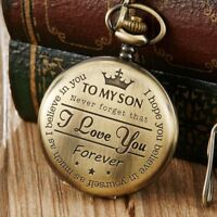 Gold Quartz Pocket Watch With Necklace TO MY SON I LOVE YOU Best Gift To Kids