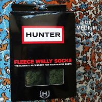 NEW NIB Hunter Fleece Welly Socks Cuff Knit 4 Boots Khaki Green Size 5-7 (MM)