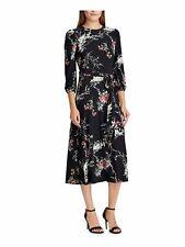 RALPH LAUREN Womens Black Floral Long Sleeve Maxi Sheath Dress Size: 6