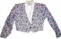 A. Byer White and Pink Floral Denim Jean Crop Jacket Polka Dot Lapels Sz M