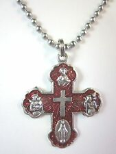 """Catholic Five Way Medal Cross 1 3/8"""" w/ Red Enamel Italy Necklace 24"""" Ball Chain"""