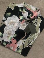 "ALL SAINTS JET BLACK ""FUYUGI"" FLORAL VISCOSE L/S SHIRT TOP - M L XL - NEW & TAGS"