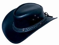 Lederhut GRATIS ZUGABEN Westernhut Cowboyhut Australien Hut Hüte Schwarz S-XL