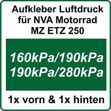 MZ ETZ NVA Aufkleber Reifenluftdruck Aufkleber für ETZ250