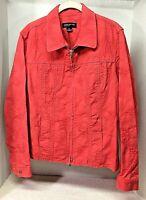 Jones New York Orange Red Cotton Waist Length Jacket Zip Front Women's Size XL