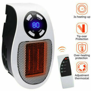 500W Plug In Wall Heater Mini Electric Space Digital Timer Ceramic Heat Portable