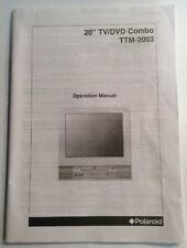 "Polaroid 20"" TV DVD Combo TTM-2003 Operation Manual Preowned"