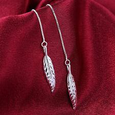 Wholesale 925Sterling Silver Smart Feather Women Drop Dangle Earrings GE862