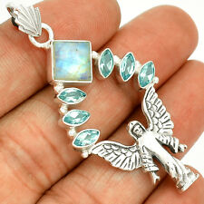 Angel - Moonstone & Blue Topaz 925 Silver Pendant Jewelry SP214749