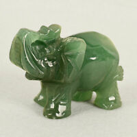 Hand Carved Natural Green Aventurine Jade Stone Carving Elephant HomeDecor Lucky
