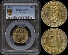 PARAGUAY 50 CENTIMOS 1951 (PCGS MS65) *PREMIUM QUALITY GEM*