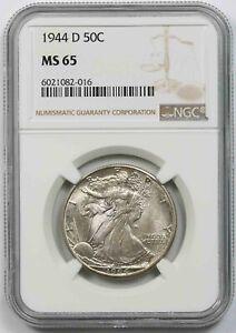 1944-D 50C NGC MS 65 (Toned) Liberty Walking Half Dollar