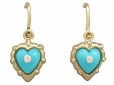 Antique Turquoise and 14 ct Yellow Gold Drop Earrings Circa 1920