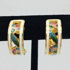 cloisonne vintage chinese enamel bead drop screw back gold tone fashion costume ethnic floral