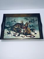 Christmas Bunny Rabbits in the Snow Decorative Wooden Serving Tray With Handles