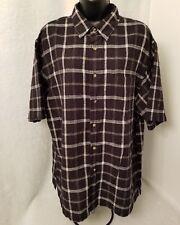 Fieldmaster Mens Linen Black White Plaid Button Down Shirt Size L