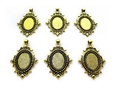 6 Ant. Goldtone ENCHANTED 25mm x 18mm CAMEO Costume PENDANTS Frame Setting Craft