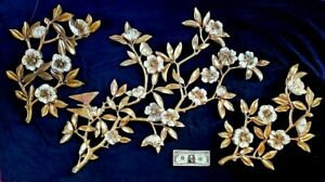 Huge Syroco 3 Piece Wall Decor Flower Branches w Butterfly 1962