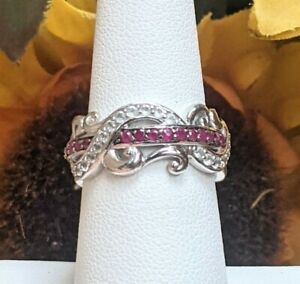 Victoria Wieck HSN Sterling Silver Ruby White Topaz Eternity Band Ring Size 7