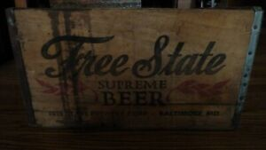 FREE STATE SUPREME BEER WOOD CRATE BOX SHIPPING VINTAGE BALTIMORE MARYLAND