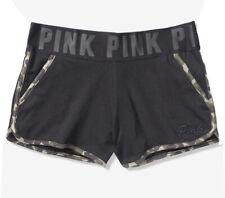 Vs Victorias Secret Pink Varsity Short Shortie Black With Camo Leopard Size S