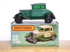 MATCHBOX Lesney No.73e FORD MODEL 'A' BERLINA nella casella tipo L (Metallico Verde Nuovo di zecca!)