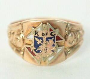 Size 12 Antique Enamel Knights of Columbus Yellow Gold Filled Ring 4.8g
