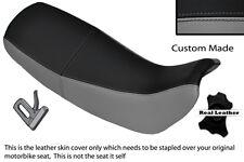 Gris & noir custom fits honda nx 650 dominator 92-01 double housse siège en cuir