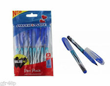 8 Pack Papermate Rollerflow Blue Ink Clip lid Pen Paper Mate Soft Rubber Grip