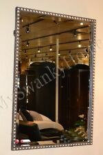 """Large 31"""" SILVER BEADED Vanity Mirror Rectangle NEIMAN MARCUS Wall Contemporary"""