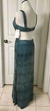 NWT ADRIANNA PAPELL Gorgeous Ombre Teal Blue Beaded Cut Out Sexy Gown / Dress 10