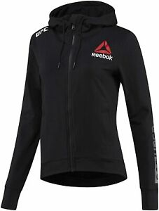 Women Reebok UFC Fight Night Walkout Hoodie Slim Fit Black Chalk NEW