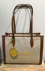 KATE SPADE NEW YORK Women's Market Canvas/Brown Straps Medium Tote PXRUB293 NWT