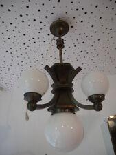 XXL Art Deco Kubismus Deckenlampe Leuchter Kugellampe Messing Bauhaus um 1920