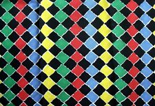 New Geometric Diamond Rows Print Cotton Fabric - Red Blue Green Yellow Black