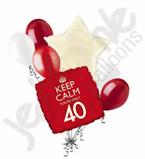 7pc Red Keep Calm You're Only 40 Happy Birthday Balloon Bouquet Party Decoration