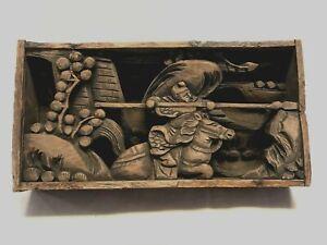 unique rare oriental wooden hand carved dioram samurai warrior horse lance