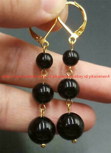 6-10mm Natural Black Agate Gemstone Round Beads Gold Leverback Dangle Earring