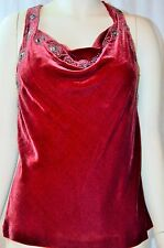 NWT Ralph Lauren Blue Label Velvet Wine Embellished Halter Top SZ 12